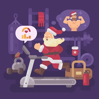 Santa Claus exercising and getting into shape for Christmas