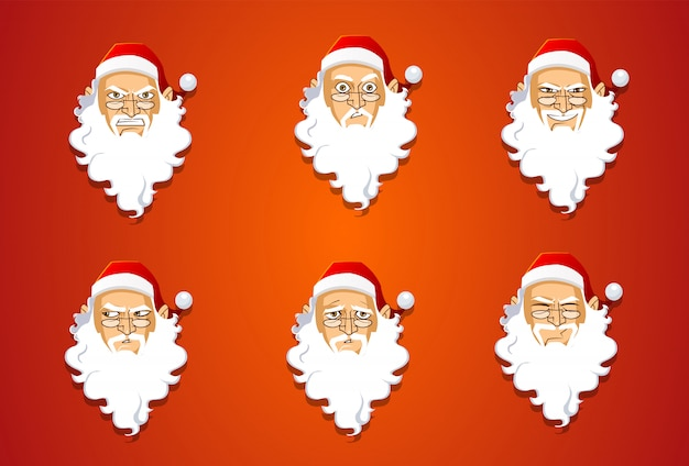 Santa claus expressions set