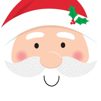 Santa claus face, cute christmas character stock