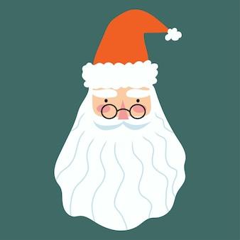 Санта-клаус лицо рисованной иллюстрации в мультяшном плоском стиле