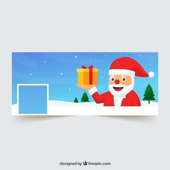 Santa claus facebook cover with gift