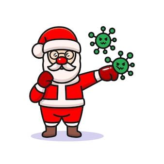 Santa claus fighting coronavirus design illustration