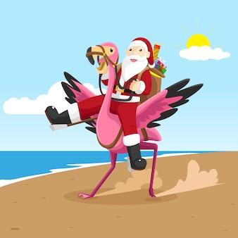 Santa claus and flamingo