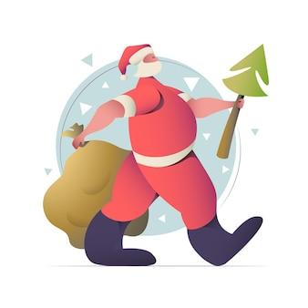 サンタクロースのフラットなデザインのグリーティングカードとクリスマスと新年のイラスト。