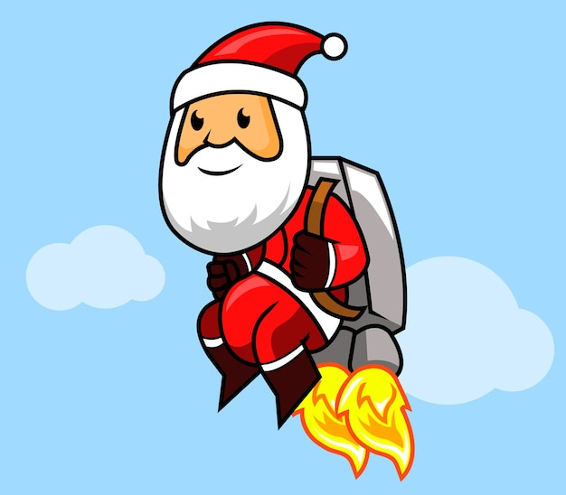 Santa claus fliying with jetpack.