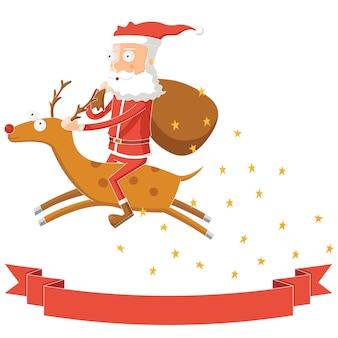 그의 사슴을 타고 산타 클로스 비행