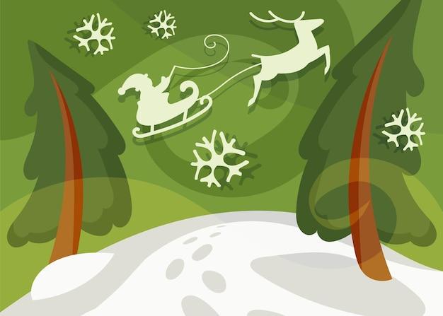 トウヒの上をそりで飛んでいるサンタクロース。漫画風のクリスマスバナー。