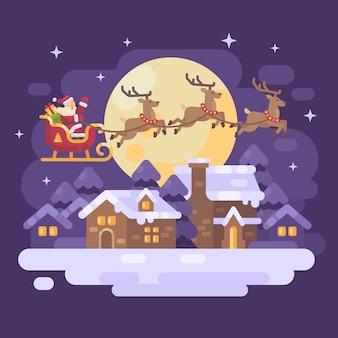 Santa claus flying over night winter