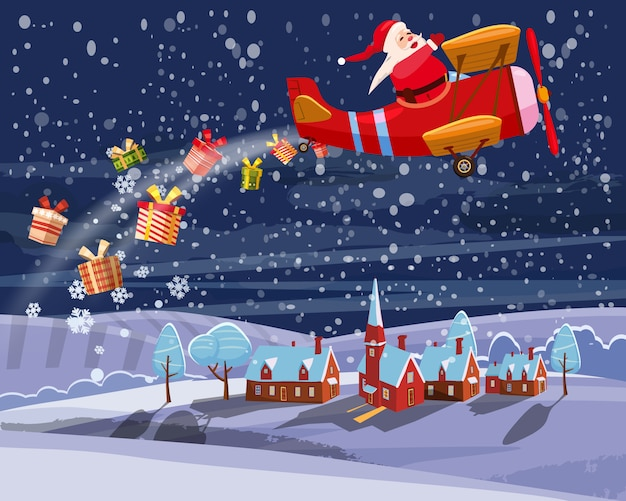 Santa claus flying on retro airplane delivering gifts in the night sky over the city