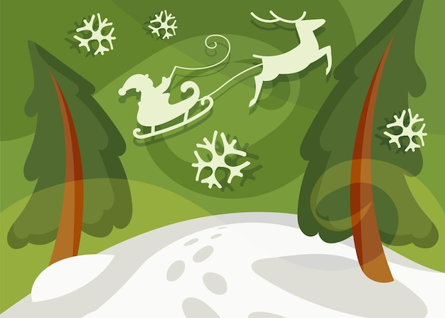 Santa claus flying in sleigh over the spruces. christmas banner in cartoon style.