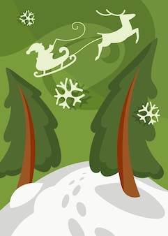 Santa claus flying in sleigh over the spruces. christmas poster in cartoon style.