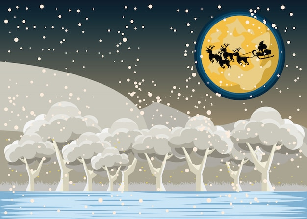 Santa claus over the forest vector illustration