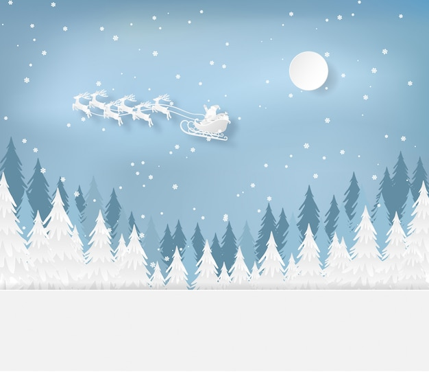 Santa claus  in forest with snow in the winter season. christmas, new year card