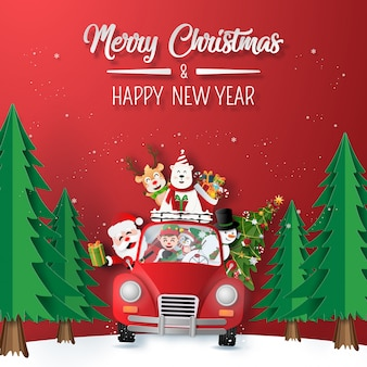 Santa claus and friend in red car driving through the forest