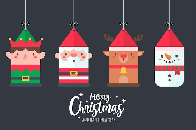 Santa claus and friends cartoon characters hanging paper for christmas decoration
