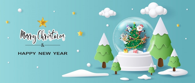 Santa claus and friends in christmas globe