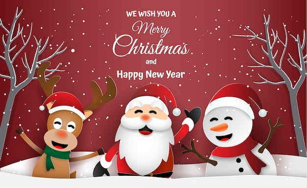 Santa claus and friends merry christmas and happy new year