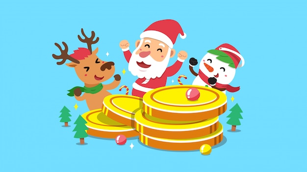 Santa claus and friends with big coins stack