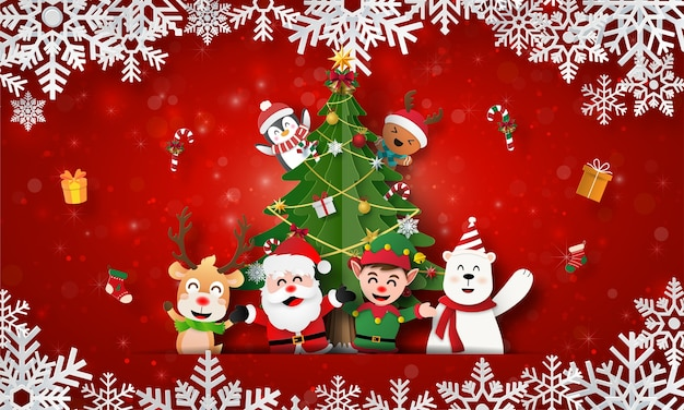 Santa claus and friends with christmas tree on christmas postcard banner
