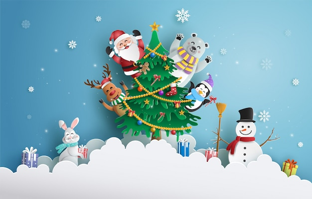 Santa claus and friends with christmas tree.