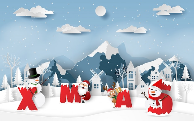 Santa claus and friends with word xmas in village