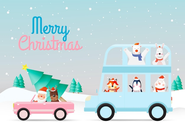 Santa claus and gang of animal party with very cute character design in paper art and pastel schenme