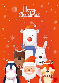 Santa claus and gang of animal party with very cute character  in paper art