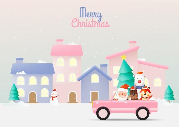 Santa claus and gang of animal ridign a car