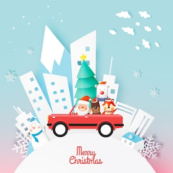 Santa claus and gang of animal with beautiful background in paper art