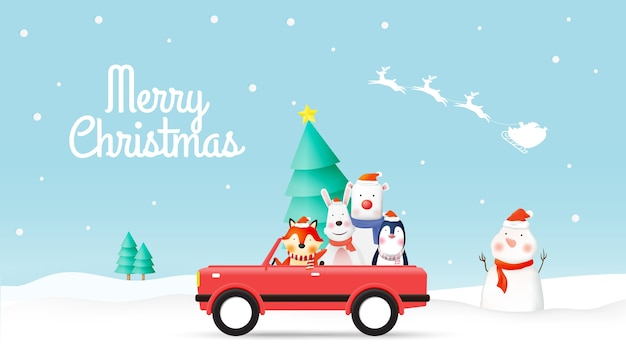 Santa claus and gang of animal with winter landscape in paper art and pastel colors