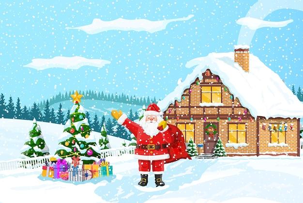 サンタクロースのギフトバッグ、クリスマスツリーの家、冬の風景松林の降雪。冬の風景モミの木の森と雪。