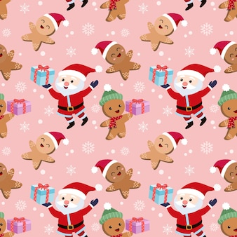Santa claus and gingerbread cookies holding gift  seamless pattern.