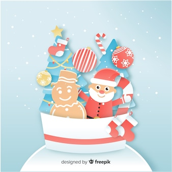 Santa claus and gingerbread snowman paper style