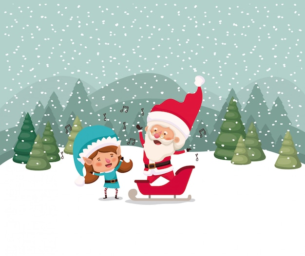 Santa claus and girl helper in snowscape