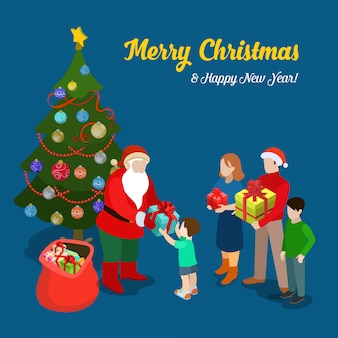 Santa claus gives present to little boy. merry christmas and new year isometric vector illustration.