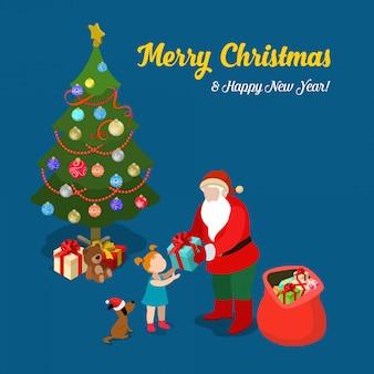 Дед мороз дарит подарок маленькой девочке. счастливого рождества и нового года изометрические векторные иллюстрации.