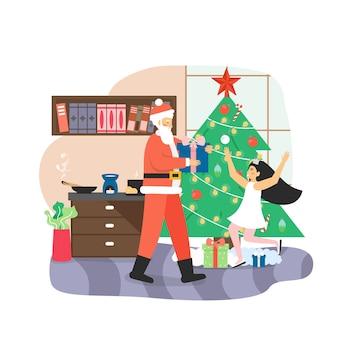 Santa claus giving gift box to happy girl kid, flat vector illustration.