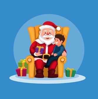 Санта-клаус дарит подарочную коробку мальчику на диване на векторе иллюстрации рождественского сезона