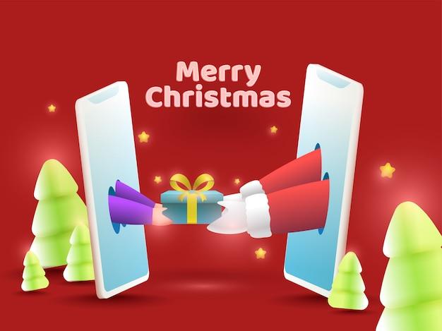 Санта-клаус дарит подарочную коробку человеку через смартфон