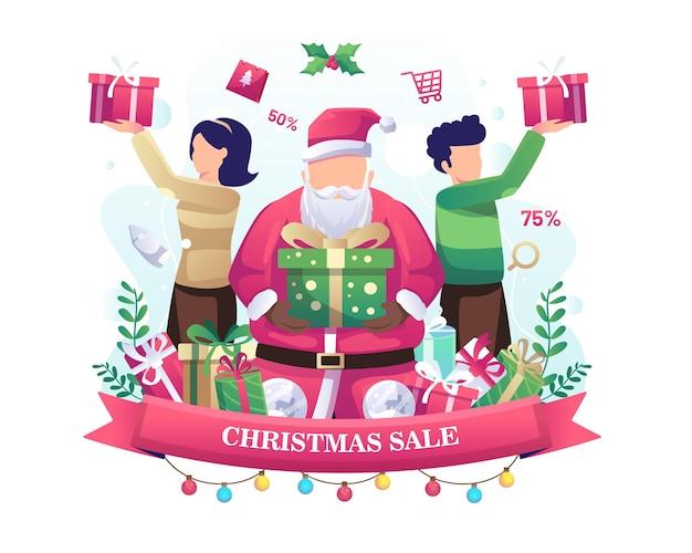 선물 일러스트를 받는 사람들과 크리스마스 판매의 선물 컨셉 디자인을 주는 산타 클로스
