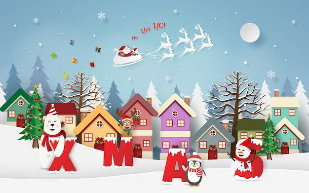 Santa claus giving gifts in the village with xmas party