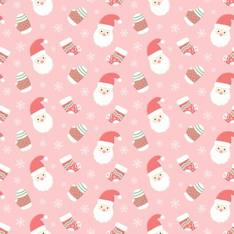 Santa claus and glove with sock, christmas seamless pattern, seasonal holiday background
