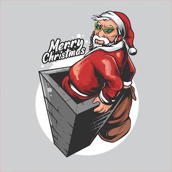 Santa claus goes up the chimney