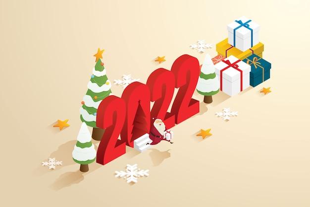 サンタクロースの祖父はクリスマスツリーと2022年のギフトボックスの背景を介してギフトを送信します