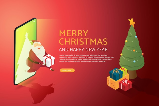 サンタクロースの祖父は、クリスマスツリーとスマートフォンのギフトボックスの背景を介してギフトを送信します