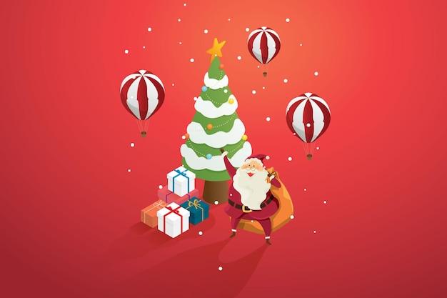 クリスマスツリーとバルーンの赤い背景に贈り物の山を持つサンタクロースの祖父