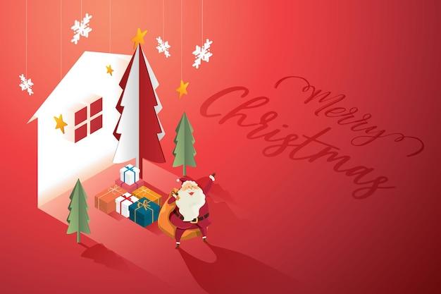 クリスマスツリーと家の照明付き看板の背景に贈り物の山を持つサンタクロースの祖父