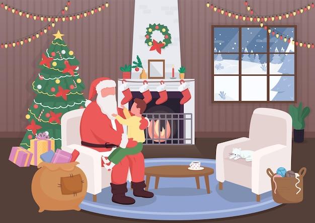 Santa claus greet kid flat color illustration