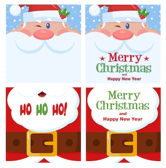 Santa claus greetings card set