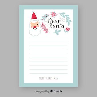Santa claus hand drawn letter template